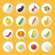 Vegetables Colored Isolated Icon Flat Set