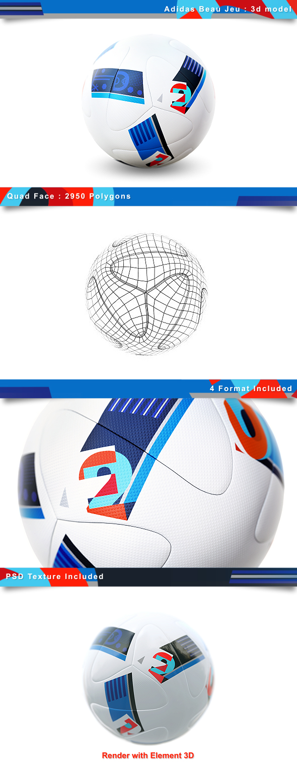 Euro 2016 Soccer Ball   Beaujeu - 3DOcean Item for Sale