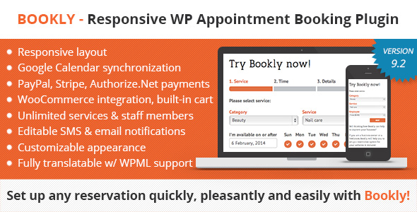 Bookly – Responsive Appointment Booking and Scheduling Plugin