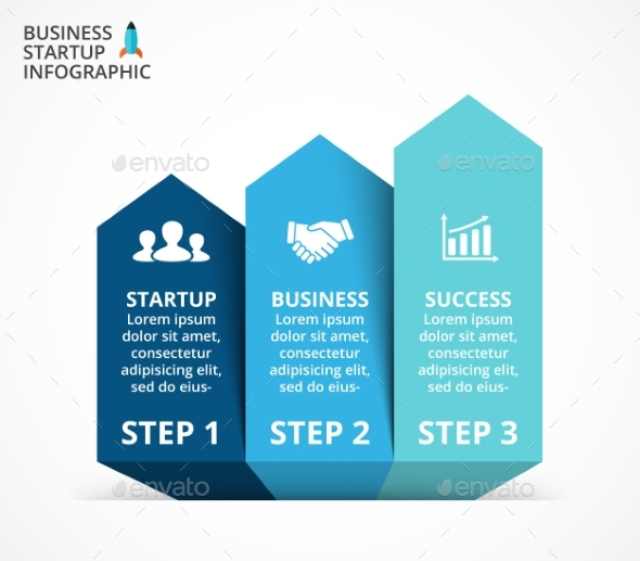 Up Arrows Diagram. Startup Infographic, PSD, EPS, AI