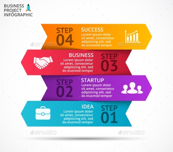 Up Arrows Diagram. Startup Infographic. PSD, EPS, AI