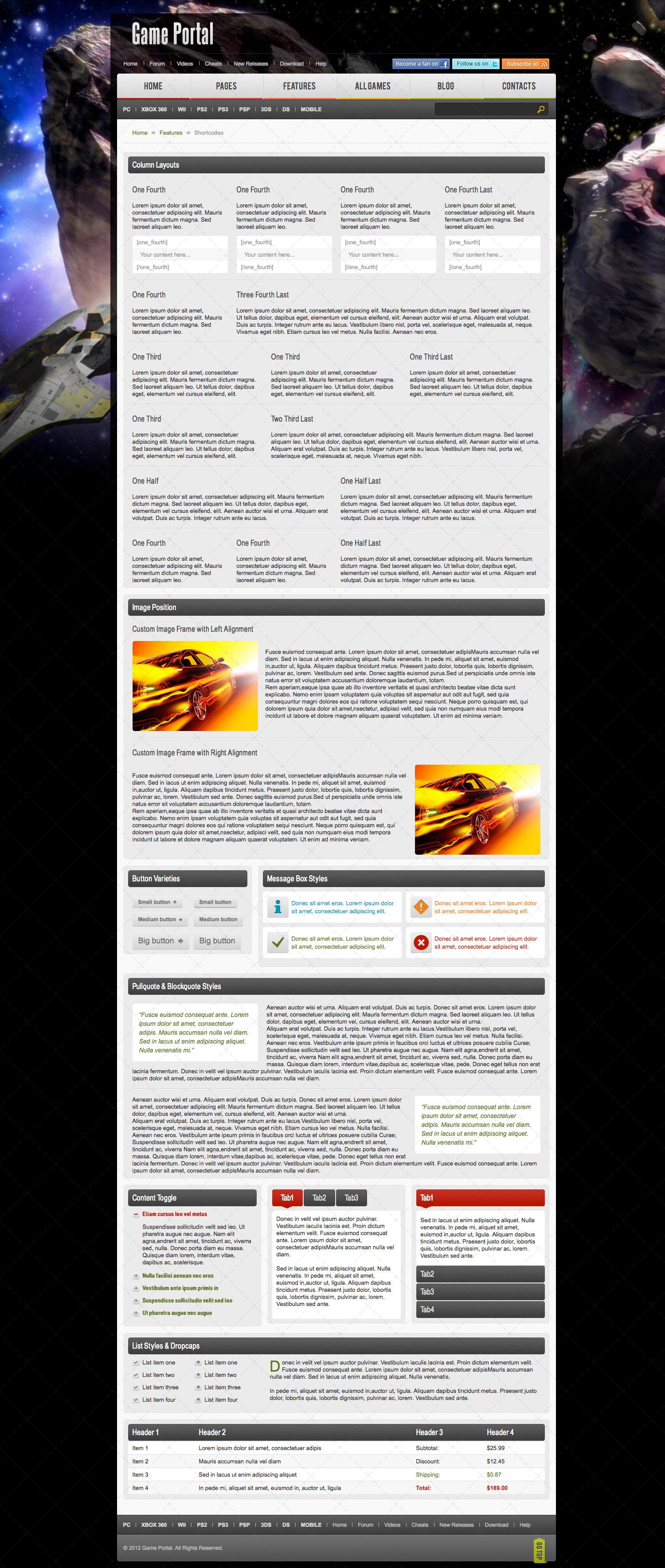 Game Portal PSD Template