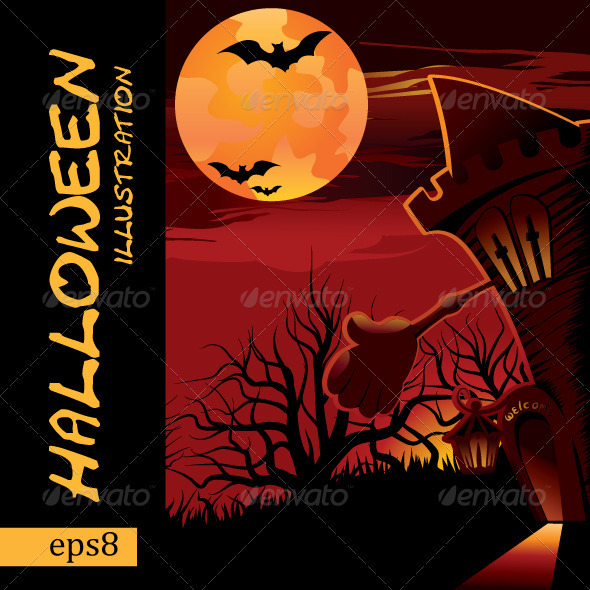 Vector halloween illustration - Scenes Illustrations