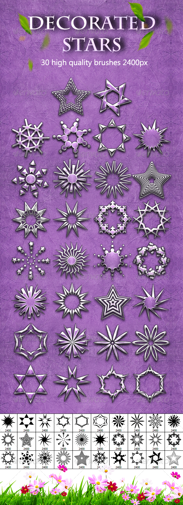 30 Decorated Stars - Artistic Brushes