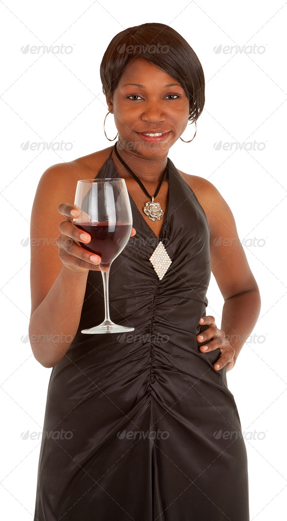 Woman Serving a Glass of Red Wine - Stock Photo - Images