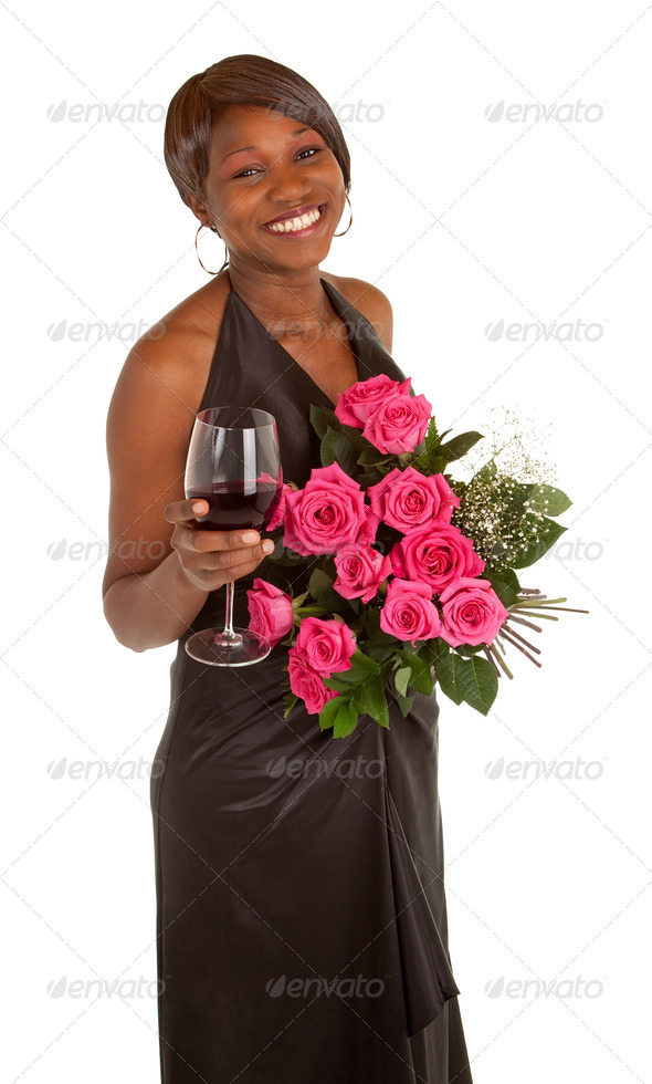 Happy Woman  Posing with Roses and a Glass of Wine - Stock Photo - Images