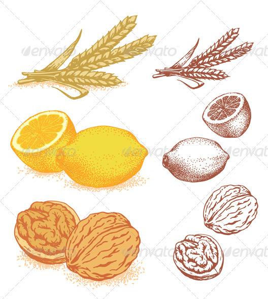 GraphicRiver Grain Lemons Walnuts 1606484