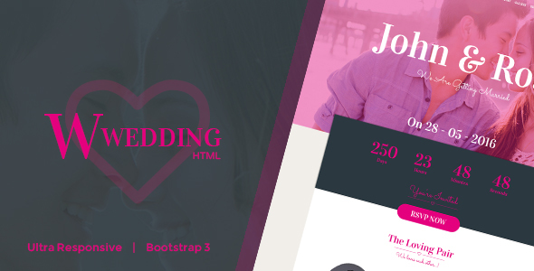 15. W-Wedding - Responsive Bootstrap Wedding Template