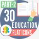 30 Education Flat icons part-2