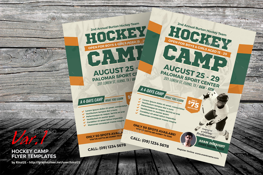 Hockey Camp Flyer Templates by kinzi21 – Camp Flyer Template