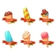 Set of Flat Ice Creams Icons with Ribbons