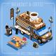 Breakfast Food Truck Isometric Vehicles