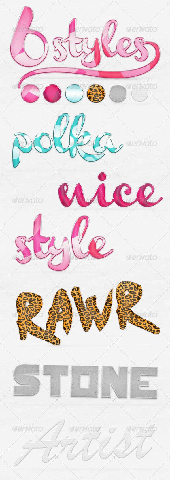 6 Fresh Photoshop Styles - Text Effects Styles