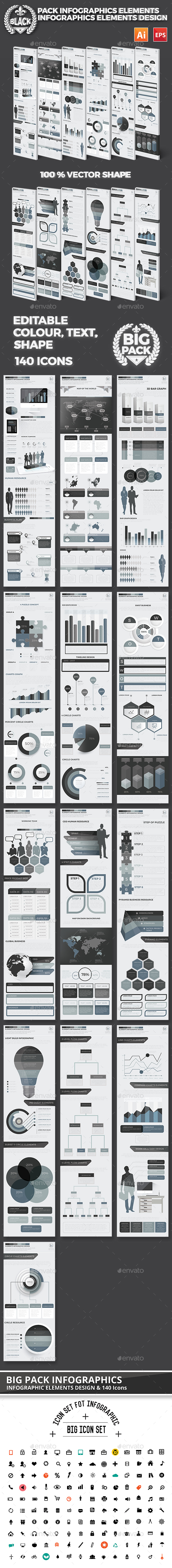 Black Set Of Modern Infographics Design