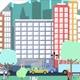 Flat City Vector - City with Buildings, Pedestrians, Cars, Planes... in Flat Design