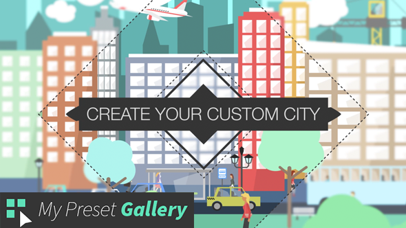 VideoHive Flat City Vector City with Buildings Pedestrians Cars Planes. in Flat Design 16075205