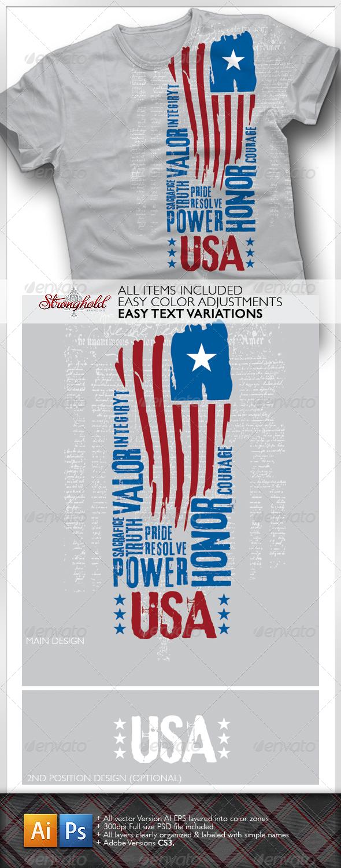GraphicRiver USA Flag T-Shirt 1608560