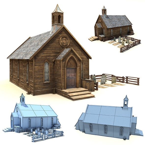 Low Poly Wild West Church - 3DOcean Item for Sale