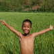 Boy Happy With Arms Outstretched In Rice Field
