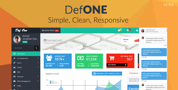 DefOne - Responsive Bootstrap 3 Admin Template