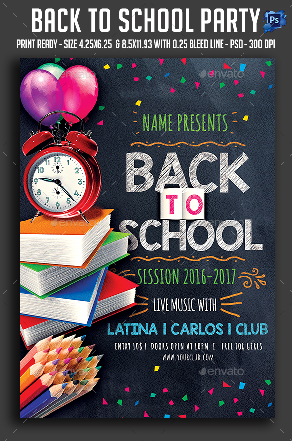 Back To School Party Graphics Designs Templates