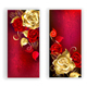 Two Red Banners with Gold Roses