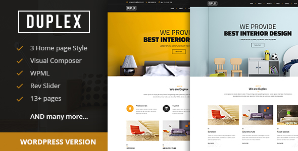 Duplex - Interior and Architecture Design WordPress Theme