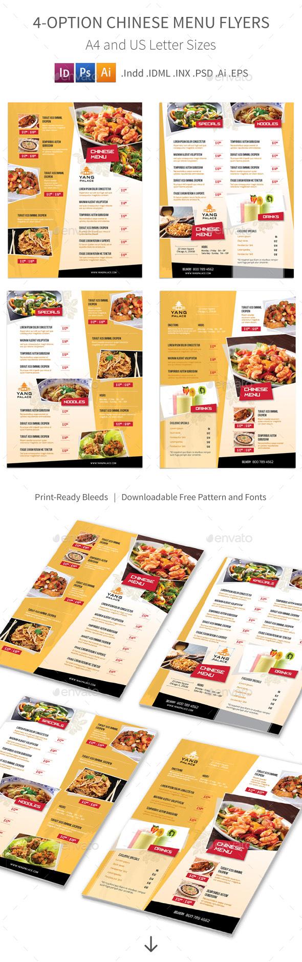 Chinese Restaurant Menu Flyers – 4 Options
