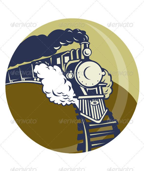 GraphicRiver Steam Train Locomotive Retro 1611377