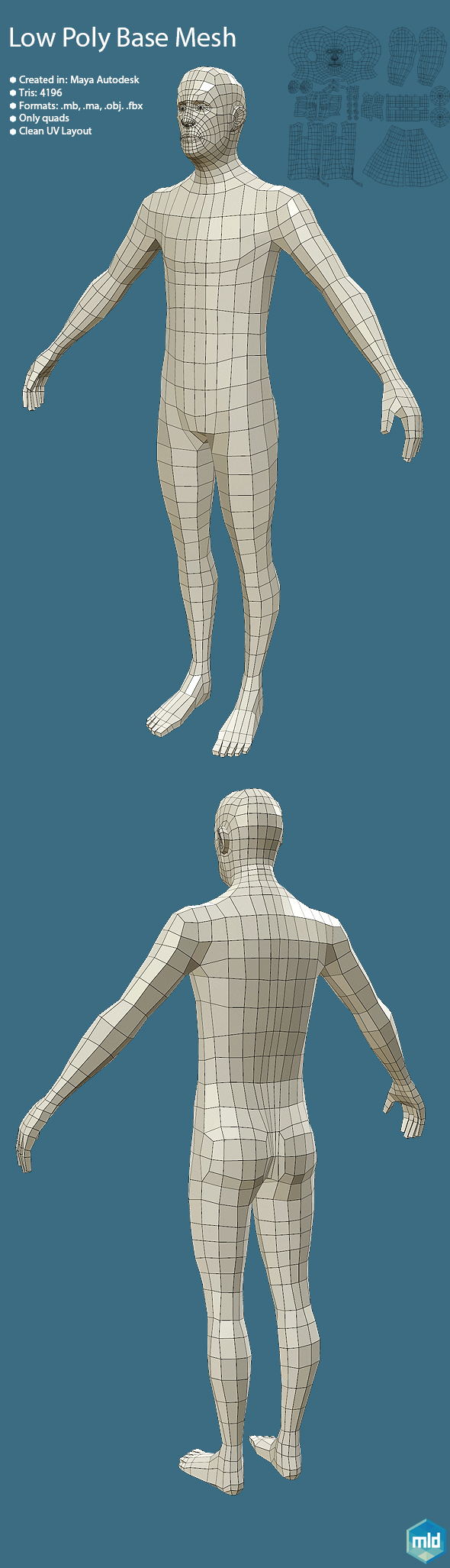 Low Poly Human Base Mesh  - 3DOcean Item for Sale