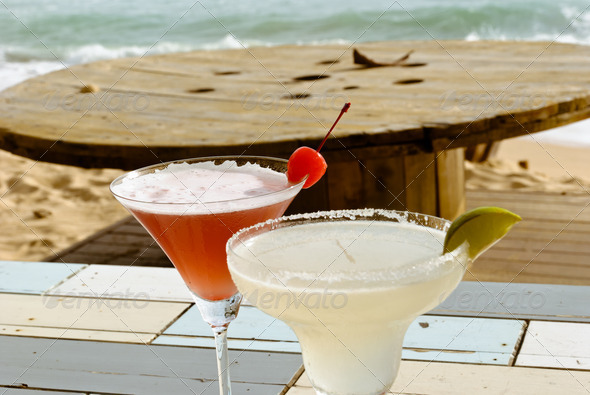 Cocktail on the beach - Stock Photo - Images