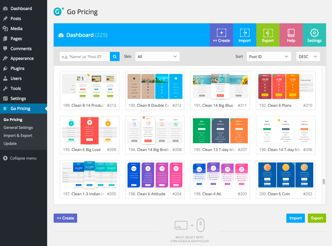 Go pricing wordpress responsive pricing tables by granth for Table design wordpress plugin