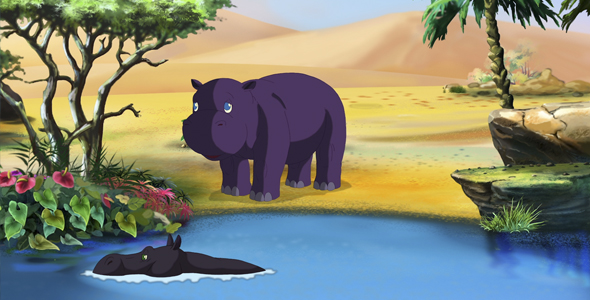 Pieni Afrikkalainen Hippo - Taustat Luonnosta Motion Graphics