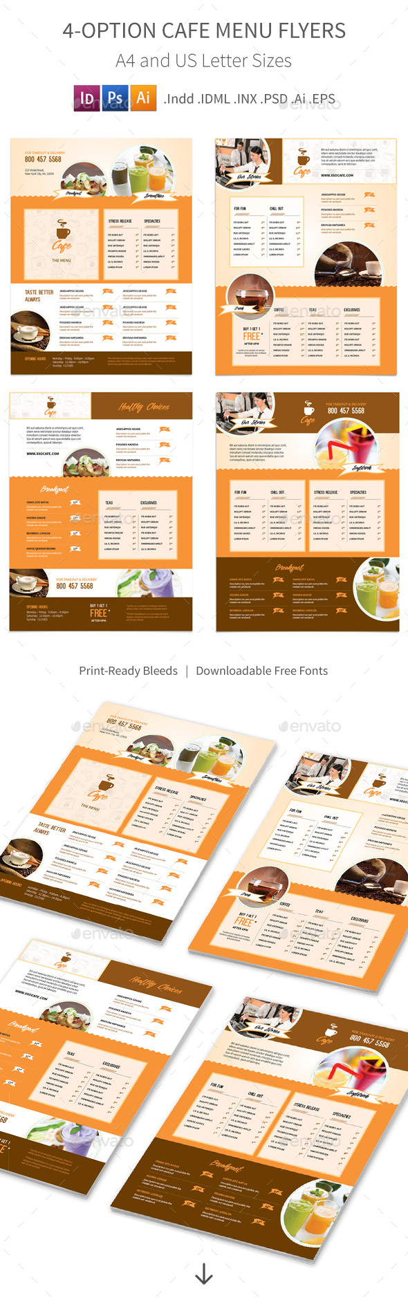 Cafe Menu Flyers – 4 Options