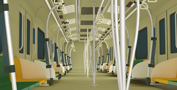 Metro Rail Interior Model - 3DOcean Item for Sale