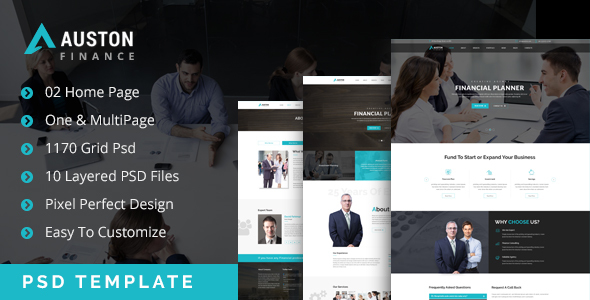 Auston - Finance & Business One & MultiPage PSD Template