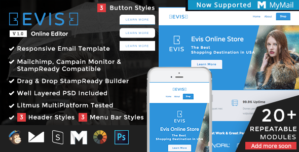 Evis - Responsive Email + StampReady Builder