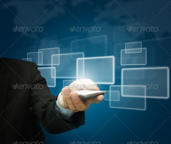 Business hand hold Touch screen mobile phone - Stock Photo - Images