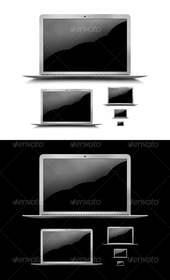 Layered PSD & PNG High Res Laptop Graphic & Icons