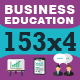 153x4 Icons for Business, Work and Education