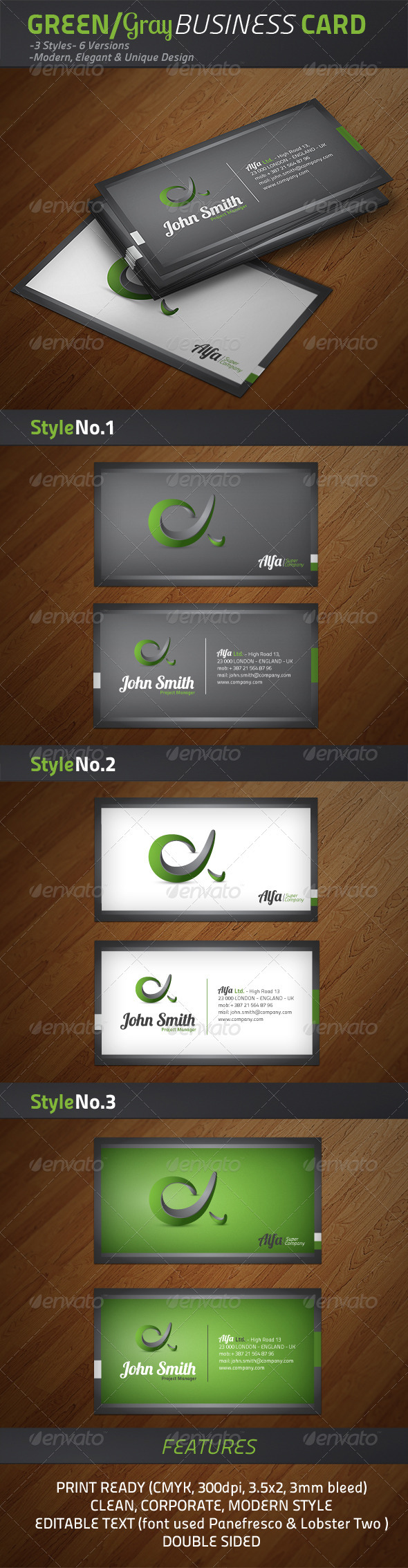 Alfa Green Grey #2 cards - Corporate Business Cards