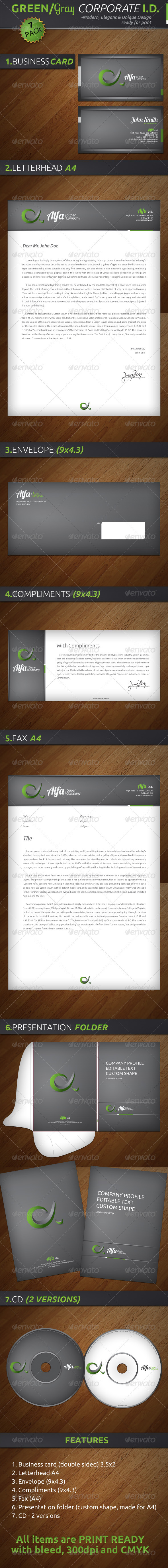 Alfa Green/Grey Corporate ID - XXL - Stationery Print Templates