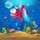 Underwater World with Fish Background
