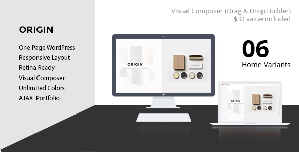 ORIGIN - Creative One Page Slant WordPress Theme