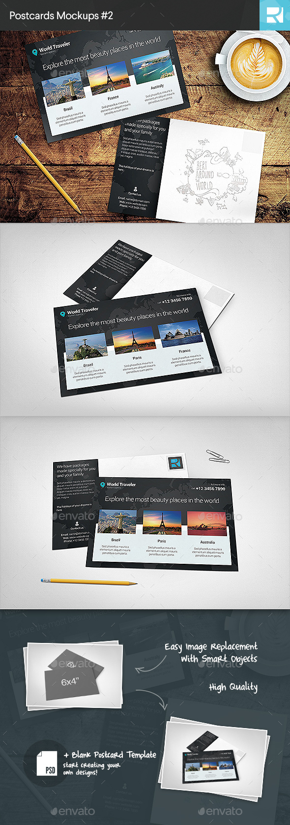 Postcard Mockups #2 (Stationery)