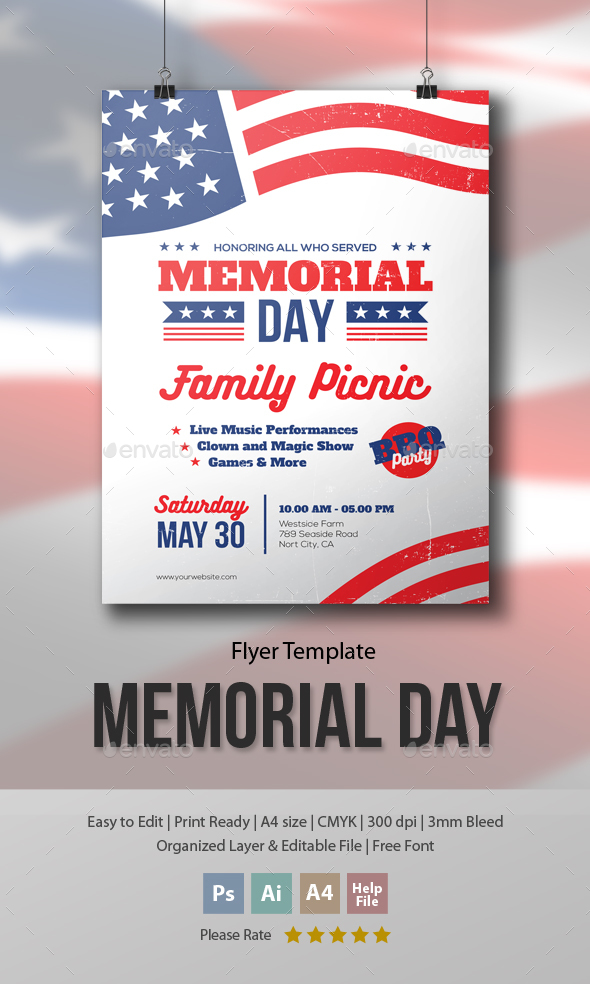 Memorial Day - Family Picnic Flyer Template