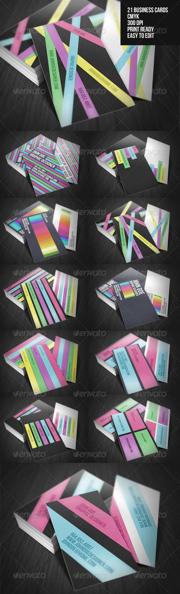 Graphic River Colorful Business Cards Pack Print Templates -  Business Cards  Creative 1505745