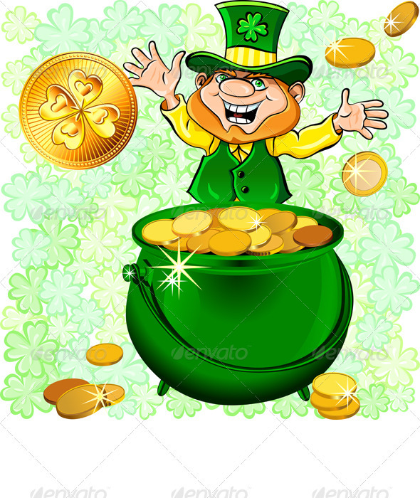 St. Patrick's Day Leprechaun with a Gold - Seasons/Holidays Conceptual