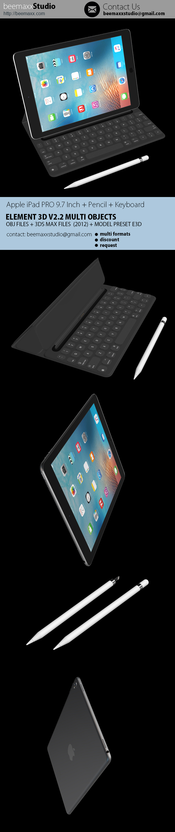 Apple iPad Pro 9.7 Inch 2016 E3D + Apple Pencil + Apple Smart Keyboard - 3DOcean Item for Sale