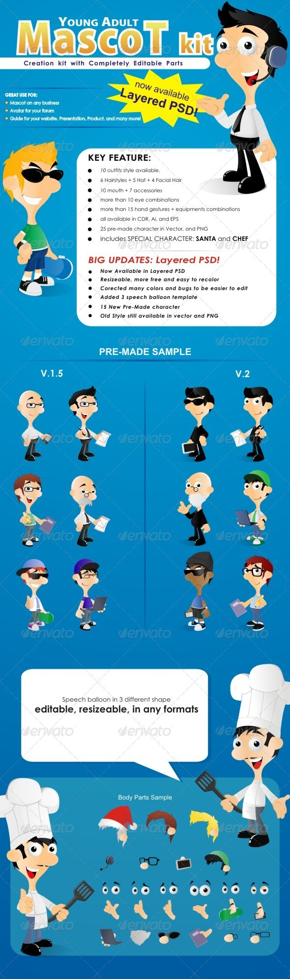 Graphic River Young Adult Mascot Kit For Any Business Vectors -  Characters 758353